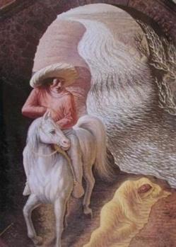 ATLI ADAM  Uzaktan yaşlı bir adam resmi gibi gözükse de aslında bu bir atlı adamın resmi.