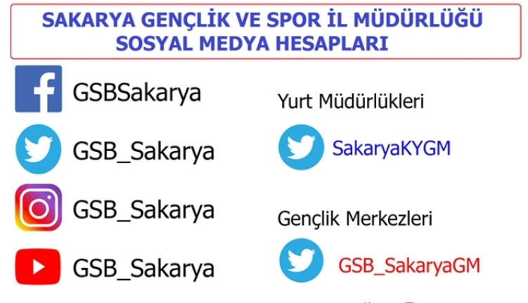Sakarya Gençlik ve Spor İl Müdürlüğü Resmi Sosyal Medya hesapları