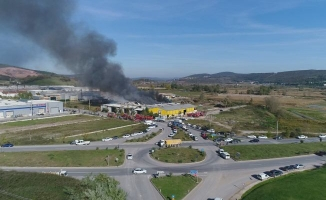 Sakarya'da Kereste Fabrikası Cayır Cayır Yandı