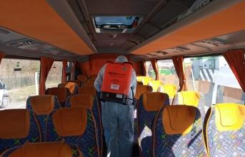 Sakarya'da Okul Servis Araçları Dezenfekte Edildi