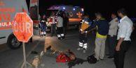 Alkolü Fazla Kaçıran Motosiklet Sürücüsü Kaza Yaptı