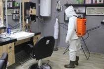 Ferizli'de berber ve kuaförler dezenfekte edildi