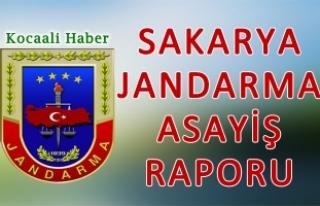 8 - 9 Kasım 2017 Sakarya il Jandarma Asayiş Raporu