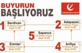 Yeniden Refah Partisi Sakarya 5 ilçe de bir günde...