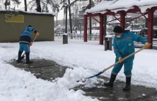 Hendek'te karla mücadelede sorun yok