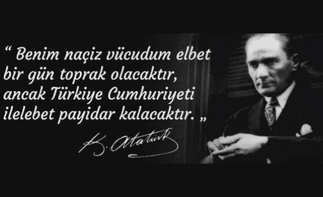 Vali İrfan BALKANLIOĞLU' nun 10 Kasım Atatürk'ü Anma Günü Mesajı