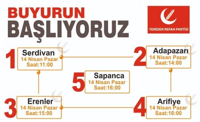 Yeniden Refah Partisi Sakarya 5 ilçe de bir günde kongrelerini gerçekleştiriyor